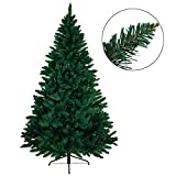 BB SPORT Christbaum künstlicher Weihnachtsbaum Tannenbaum in Verschiedenen Größen und Farben inkl. Standfuß künstliche Tanne mit Klappsystem, Farbe:dunkelgrün, Höhe:210 cm (1.160 Spitzen)