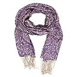 Kashfab Kashmir Damen Sommer Mode Schecks Schal, Seide stole, Weich Lange Schal, Stilvoll Paschmina Lila 1