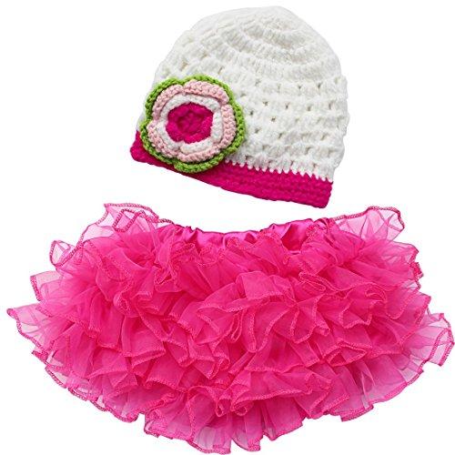 eugeborenen Baby Kostüm 2tlg. Set Mädchen Prinzessin Kleid Rock + Häkel Gestrickt Hut Schmuck für 0-6 Monate (Dunkel Rosa + Weiß) (Kleinkind Kostüm-schmuck)