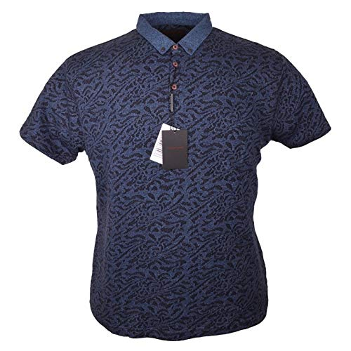 King Size Menswear - Lizard King Pattern Polo 5XL Steel