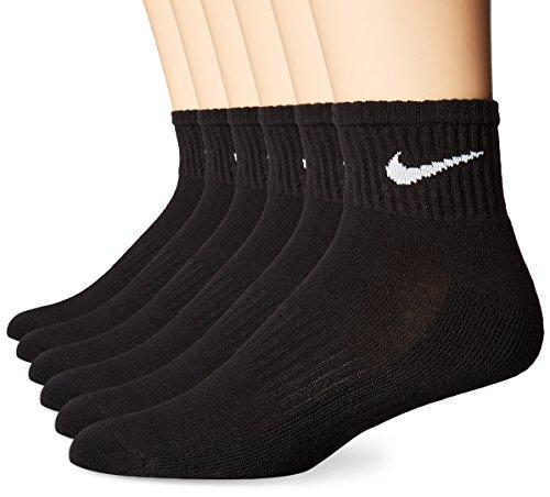 Nike Performance Kissen Quarter Socken mit Tasche (6Paar), Unisex, SX5177, schwarz/weiß, M -