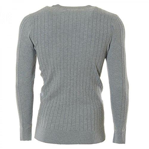 Herren Pullover Grobstrick Sweatshirt (5Farben) H2509 Grau