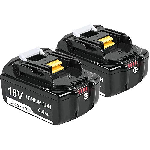 2X Dosctt Batería Reemplazo para Makita BL1860B 18V 5,5Ah Li-Ion Batería de Repuesto BL1850 BL1840B...