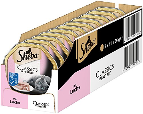 Sheba Classics in Pastete - Katzenfutter als Pasteten mit feinen Stückchen - Getreidefrei - Für jeden Tag Lachs-tag