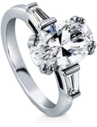 BERRICLE Rhodium Plated Sterling Silver Oval Cut Cubic Zirconia CZ 3-Stone Engagement Ring 3.23 CTW