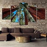 zyzdsd 5 Unidades HD Imprimir Pintura Gigante Sequoia Trees Pintura Lienzo Arte De La Pared Imagen Decoración del Hogar Sala De Estar Pintura De La Lona (Sin Marco)