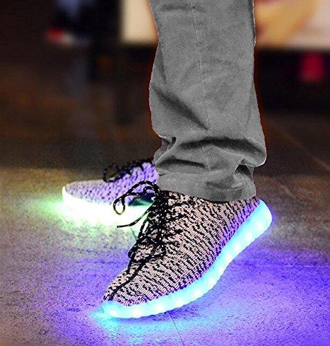 Chaussures à talon à LED et chaussures de sport en maille d'été toiles et semelles en caoutchouc changement de sept couleurs et onze types de mode flash Grey