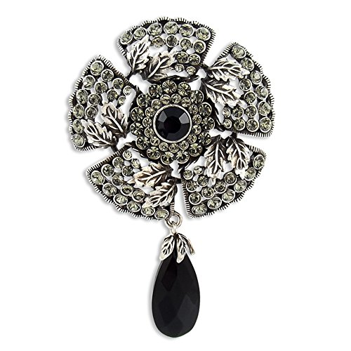 Vintage Spilla con Swarovski Elements gotico antico argento Black Diamond, Jet, in scatola