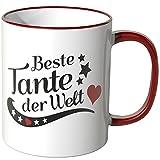 WANDKINGS® Tasse, Spruch Tante der Welt - ROT