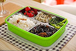 Generic Green color Double Layers Insulation Bento Box Lunch for Kids Students Stainless Steel 4 Grids Food Container Storage Microwave