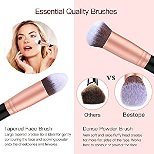 Set de brochas de maquillaje profesional BESTOPE 16 piezas Pinceles de maquillaje Set Premium Synthetic Foundation Brush Blending Face Powder Blush Concealers Kit de pinceles (Rose Golden)