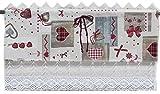 Gardine Scheibengardine Bistrogardine Landhaus Shabby Chic Vintage 37 lang hoch rote Herzen (110 x 37 cm)