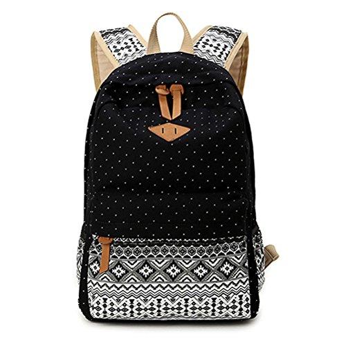Winnerbag Leinwand drucken Frauen Schule Rucksäcke Rucksack Tasche für Mädchen im Teenageralter Vintage Laptop Rucksack Rucksack weiblichen Schultasche Mochila Schwarz