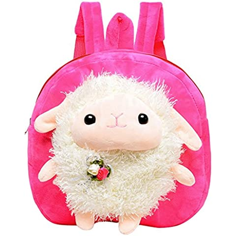 Happy Cherry Suave Mochila Infantil Morral Animal Plush Muñeco de Oveja Cartoon Bolso Backpack para Bebé Niño Niña Guardería Escuela - Rosa