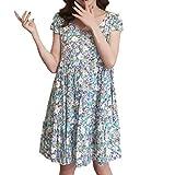 Rosennie Damen Schwangeres Kleid Umstandskleid Stillkleid Mode Kurzarm Maternity Kleid O-Ausschnitt Blumendruck Minikleid Frauen Mode Skaterkleid Schwangere Umstands Sommerkleid