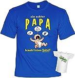 zur Geburt frisch gebackener Vater Geschenke Set T-Shirt Ein echter PAPA braucht keinen Schlaf! und BESTER PAPA Mini Flaschenshirt Geburtsvorbereitung für werdende Väter in royal-blau Gr: L : )