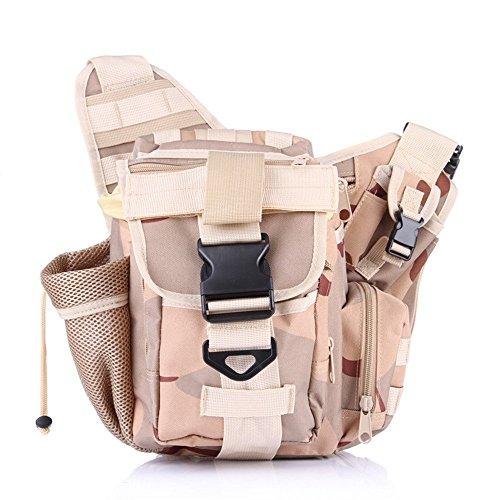 wewod Tactical marsupio con borraccia e cintura regolabile/Mode multifunzione cintura borsa Custodia per campeggio escursionismo Outdoor, CP Tarnung, 28*20*28 cm Drei Sand Tarnung