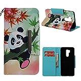 Leder Brieftasche Hülle für LG G7,LG G7 ThinQ Hülle,Shinyzone Bunt Niedlich Karikatur Tier Panda Gemalt Muster Flip Ständer Handytasche,[Metall Magnetverschluss][Kartenfächer & Handschlaufe] Ganzkörper Schutzhülle
