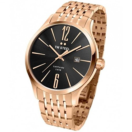 TW STEEL Men's Quartz Watch with Black Dial Analogue Display and Stainless Steel Rose Gold Plated Bracelet TW1308