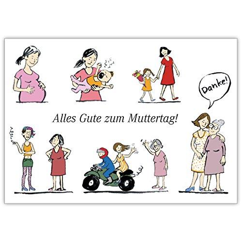 Illustrierte Muttertagskarte von der Tochter: Alles Gute zum Muttertag