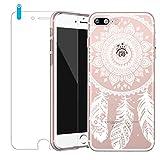 Bestsky Zeattain Coque iPhone 7 Plus/8 Plus avec Verre Trempé, Mandala Transparent Silicone Slim Cover Case Anti Choc Protecteur Housse pour iPhone 7 Plus/8 Plus