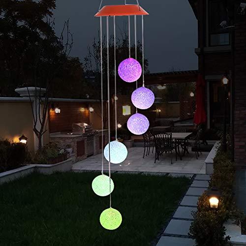 Galapara Solar LED Windspiel, Farbwechsel Solar Windspiel Sechs Bälle Mobile Romantic Wind-Bell Outdoor LED Hängende Nachtlichte für Outdoor Party, Garten-Dekoration (Bell Zaun)