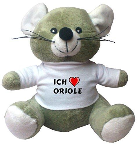 Maus Plüschtier mit Ich liebe Oriole T-Shirt (Vorname/Zuname/Spitzname)