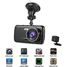 Cámara para Coche LESHP Dashcam Doble Cámaras Full HD 1080P 170°Lente Ultra Gran Angular 12MPX con G-Sensor, negro
