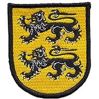 Dos leones escudo bordado parche de gamuza