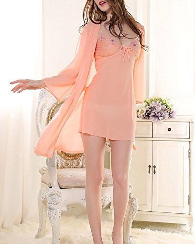 Femme Nuisette Lingerie Robe Bretelle Babydoll V-Col Chemise de Nuit Manches Courtes Kimono Peignoir en Mousseline de soie Orange Pink