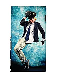 PrintHaat Back Case Cover for Sony Xperia M2 Dual D2302::Sony Xperia M2 (sexy dance move :: boy dancing :: hand on head dancing step :: boy dancing in casuals with tie and hat :: love dance :: dance academy :: dance class :: in blue, white and black)