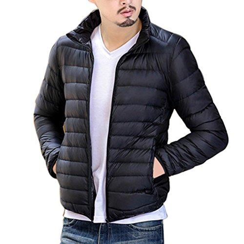 Vertvie Herren Ultraleichte Wattierte Jacke Steppjacke Winterjacke Übergangs Jacke mit Stehkragen (2XL, Schwarz)