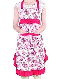 TININNA Delantal de Cocina con Dibujo Floral Rosa, diseño Floral Rose Red