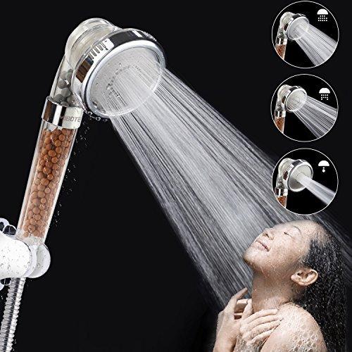 alcachofa de ducha, ahorro de agua de alta presión con 3modos de ducha para piel seca y pelo, por mibote, transparente