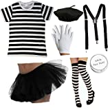 Mesdames Français Mime Fancy Dress Costume 7 pièces Circus Artiste poule costume