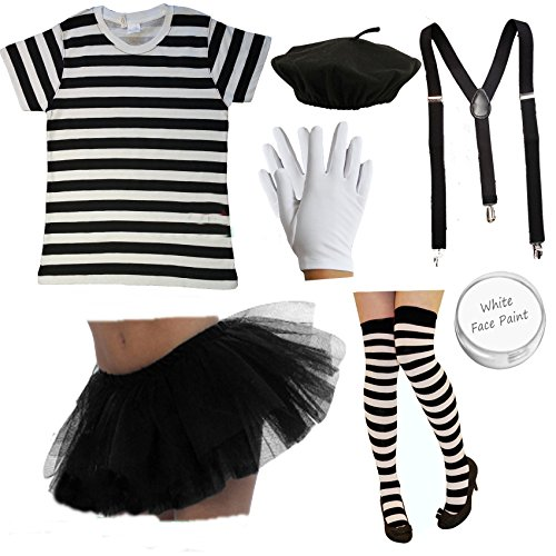 Up Kostüm Mime Make (Ladies FRENCH MIME Fancy Dress Costume 7 PIECE SET circus artist Hen outfit (Women: 10-12) by PAPER)