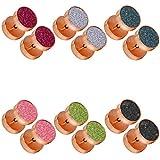 tumundo Set von 6 Stk/1 Stk Fakeplug Mit Etui Piercing Tunnel Ohrring Stecker Glitzer Glitter Golden Silbern Edelstahl, Farbe:rosé - Alle Farben