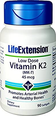Life Extension Low-Dose Vitamin K2 Menaquinone-7 (MK-7) (45mcg, 90 Softgels) by Life Extension