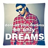 """Custom Cotton & Polyester Soft Square Zippered Cushion Throw Case Pillow Case Cover 18X18 (Twin Sides) - Canada Rapper Drake Aubrey Drake Graham And Quote """" Don'T Let Your Dreams Be Dreams """" Personalized Pillowcase For Fans Design"""
