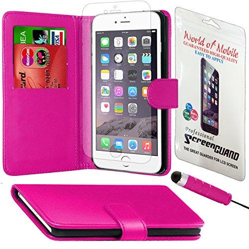 Monde de mobile®–Apple iPhone 6/6G–QUALITÉ Premium Étui portefeuille à rabat en cuir synthétique avec film protecteur d'écran chiffon en microfibre Stylet + Écran LCD Pink Side Book
