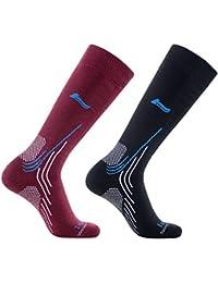 Laulax 2 Pairs High Quality Merino Wool Thermal Winter Ski Socks, Size UK 7-11 / Europe 40-46, Gift Set, Black, Burgundy, Gift Set