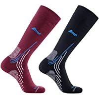 Laulax 2 Pairs High Quality Merino Wool Thermal Winter Ski Socks, Size UK 7-11 / Europe 40-46, Gift Set, Black, Burgundy, Gift Set