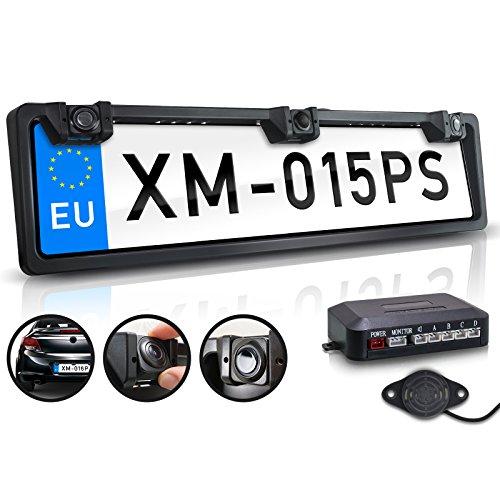 XOMAX XM-015PS Rückfahrkamera mit Kennzeichen Halterung, 2 Distanzsensoren, wasserfest IP67, CMD Kamera, Nachtsicht 1,5 LUX, 170° h, 120° v, 640x480 Pixel, 420 TVL