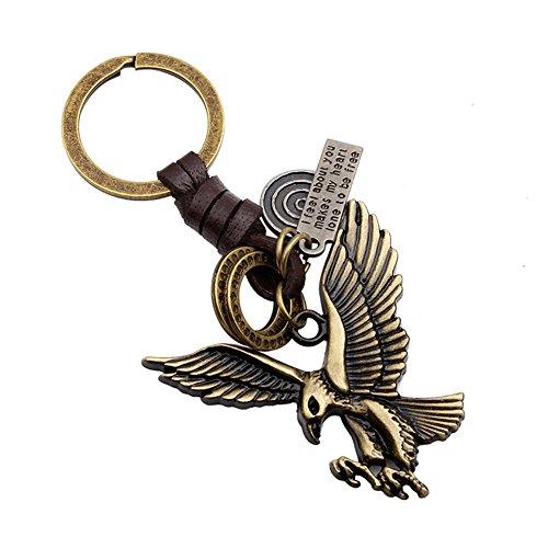 Lumanuby 1 Stuck Ring für Schlüssel Legierung Material Key Chain Fliegender Adler Form Herren Schlüsselanhänger, Kupfer Farbe (Adler - Herren-fliegender)