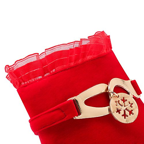 VogueZone009 Donna Punta Tonda Chiodato Bassa Altezza Tacco Alto Stivali con Sintetico Rosso