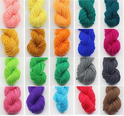 Pacco da 20 x 100g gomitoli di lana 3 strati per lavoro a maglia filo acrilico - mix di colori assortiti by deliawinterfel