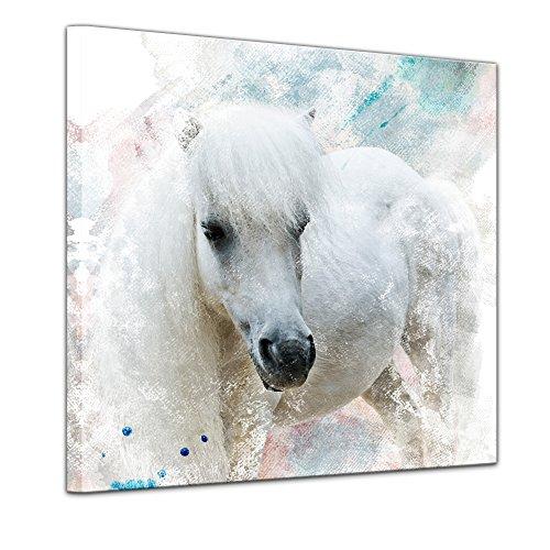 Leinwandbild Kunstdruck Reproduktion Aquarell 'Pferd' Bild auf Leinwand 60 x 60 cm einteilig - Leinwandbilder - Bilder als Leinwanddruck - Wandbild von Bilderdepot24 - Tierwelten - Malerei - Schimmel - weißes Fohlen