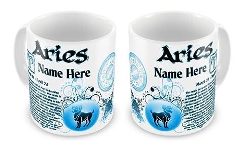 Personalised Any Name Aries Zodiac Astrology Horoscope Star Sign Novelty Gift Mug - Blue