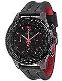 DETOMASO FIRENZE XXL Herren-Armbanduhr Chronograph Analog Quarz schwarzes Lederarmband schwarzes Zifferblatt DT1045-E