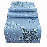 heimtexland ® Weihnachten Tischläufer Bestickt Sterne 40x160 hell-grau Tischdekoration Ökotex Typ616